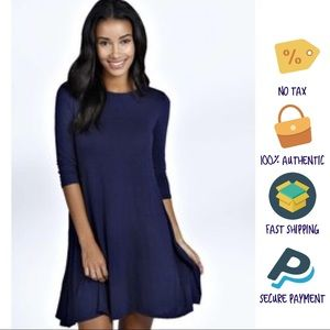 Rue21, Navy, 3/4 Sleeve Asymmetrical Swing Dress